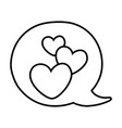 hearts into speech bubble black and white vector image vector image