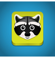 icon with raccoon face vector image vector image