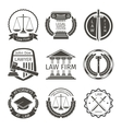Lawyer and law office logo emblem labels vector image