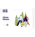 man and woman carry products in paper and bags vector image vector image