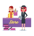 Mystery shopper woman in spy coat checks clothing vector image vector image