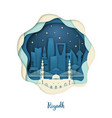 paper art of riyadh origami concept night city vector image