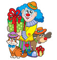 party clown with cute animals vector image