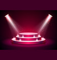 podium on red background empty pedestal platform vector image