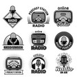 radio badges music talking podcast air streaming vector image vector image