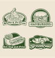 retro hand drawing fast food badge set vector image