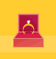 ring with diamond or jewel in box vector image vector image