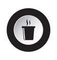 round black white icon - fast food hot drink vector image
