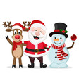 santa claus snowman and deer stand in an embrace vector image