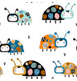 seamless childish pattern with funny lady birds vector image vector image