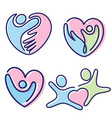 set colorful pictogram people shaped heart vector image vector image