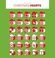 set of 30 christmas heart vector image