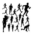 silhouettes runner vector image