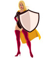 superheroine holding shield vector image vector image