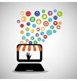 technology shop online store media network vector image
