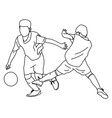 two boys playing soccer sketch vector image vector image