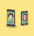 two girls having a video call via smart phone vector image