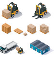 warehouse equipment icon set vector image vector image