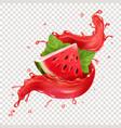 watermelon in red fresh juice splash realistic vector image