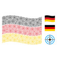 waving german flag pattern of target bullseye vector image