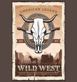 wild west retro poster bull skull and knives vector image vector image