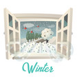 winter season outdoor view on garden or field vector image vector image