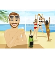 Young man drinking champagne in front of girls vector image vector image