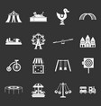 amusement park icons set grey vector image vector image