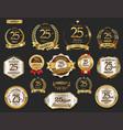 anniversary golden laurel wreath and badges 25 vector image vector image