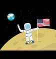 astronaut on moon surface with us flag vector image