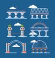 bridge architecture set arched humpbacked city vector image