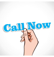 Call Now word in hand vector image vector image