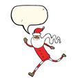 cartoon running santa with speech bubble vector image