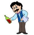 cartoon waiter serving wine vector image