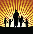 children with grandfather silhouette in nature vector image