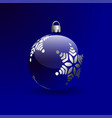 christmas ball with silver snowflake color vector image