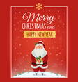 Christmas greeting card poster with Santa Claus vector image