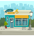 City background with shop building cartoon vector image