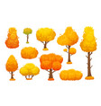 colorful autumn trees cartoon yellow fall tree vector image