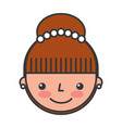 cute woman head character vector image
