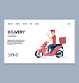 delivery banner courier man on scooter and vector image vector image