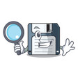 detective floppy disk isolated with a mascot vector image vector image