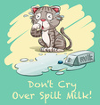 Dont cry over spilt milk vector image vector image