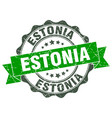 estonia round ribbon seal vector image vector image