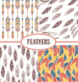 Ethnic seamless patterns with Feathers vector image vector image