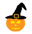 evil pumpkin witch hat for Halloween vector image