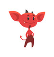 flat of smiling red devil standing vector image vector image