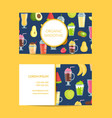 flat smoothie elements business card vector image
