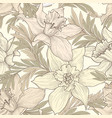 floral seamless pattern flower doodle background vector image