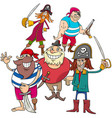 funny fantasy pirate cartoon charactersb group vector image